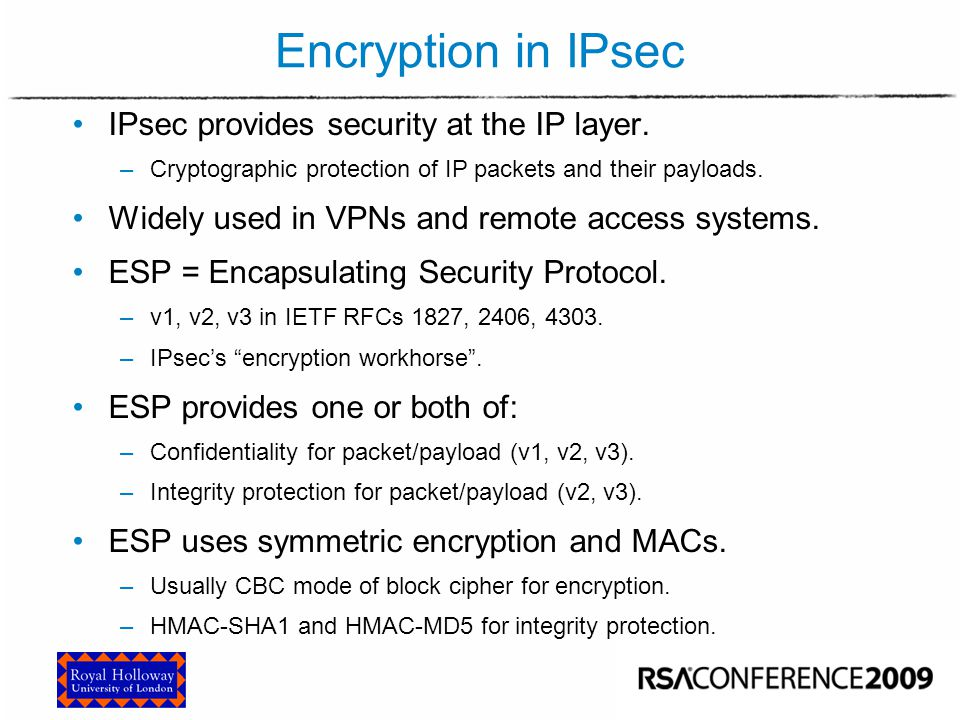 ESP in Tunnel Mode Encrypt MAC