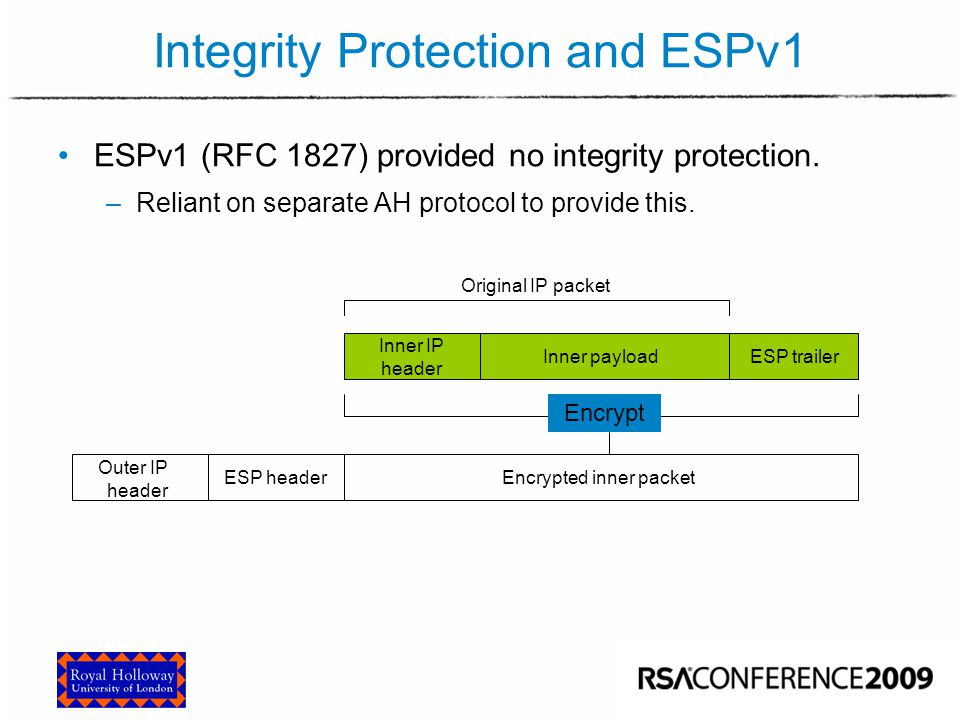 Integrity Protection and ESPv1