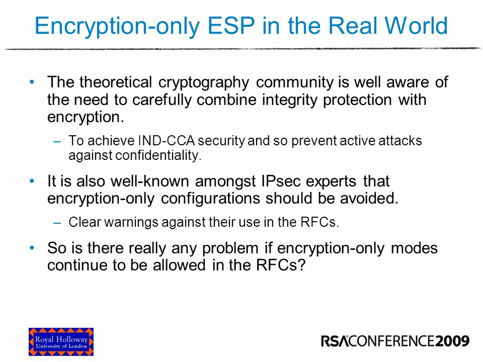 Encryption-only ESP in the Real World