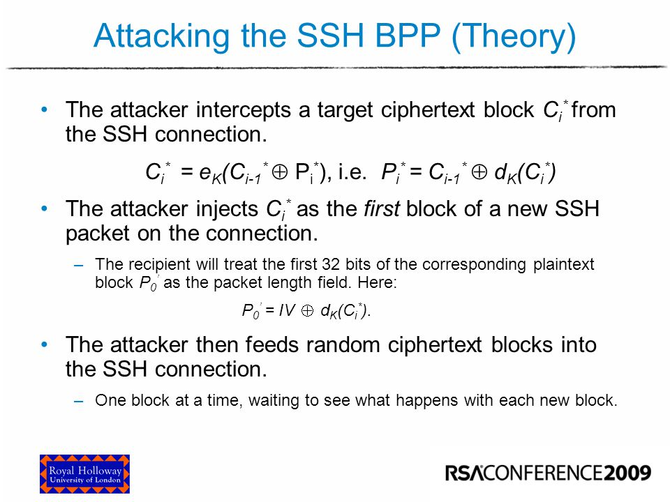 Attacking the SSH BPP (Theory)
