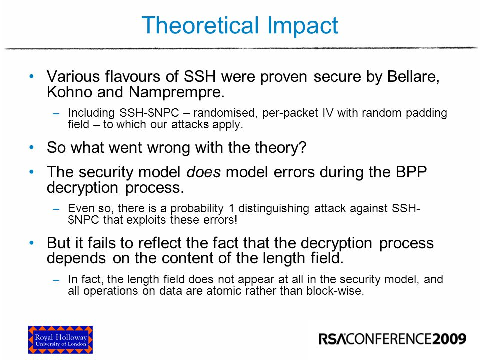 Theoretical Impact From Bellare, Kohno and Namprempre:
