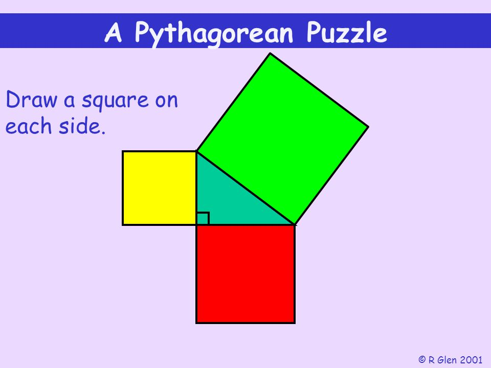 A Pythagorean Puzzle Draw a square on each side. © R Glen 2001