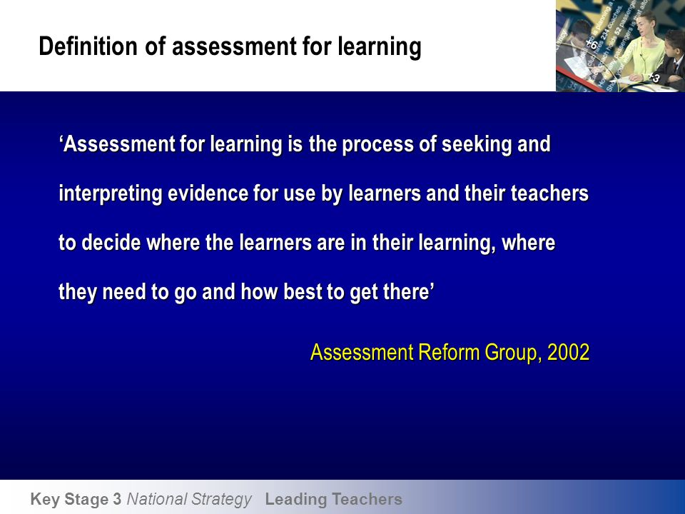 Assessment for Learning folder training units