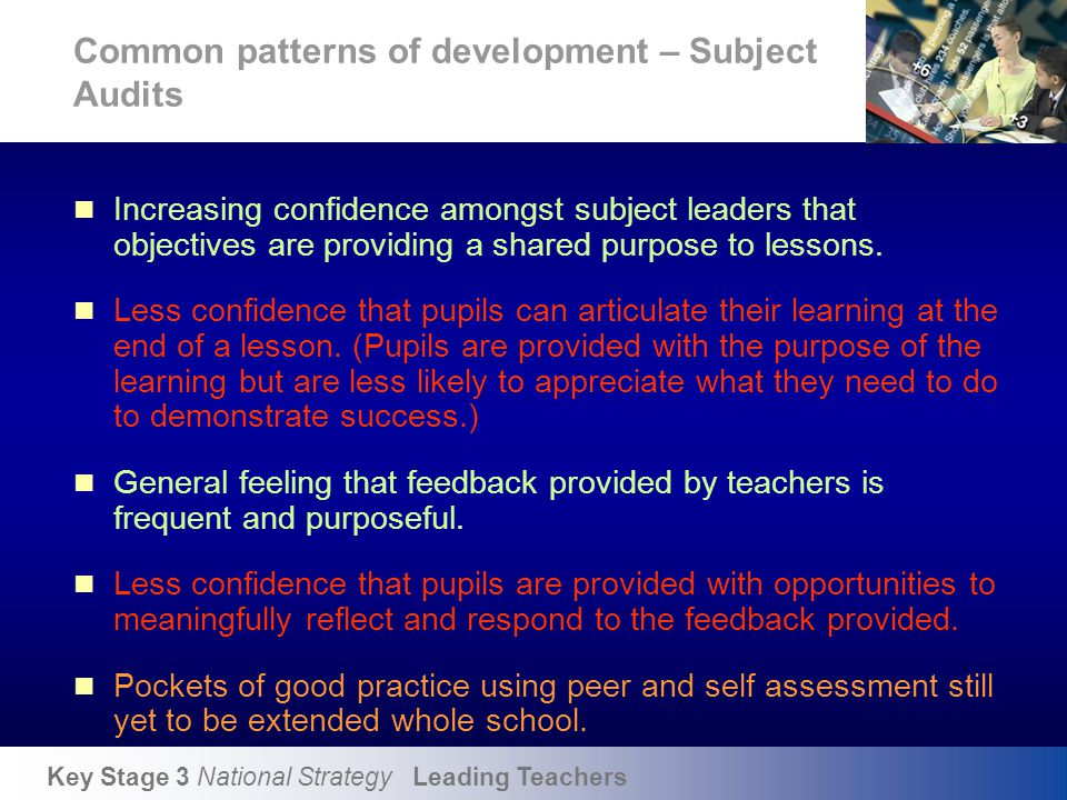 Common patterns of development - Pupil interview findings