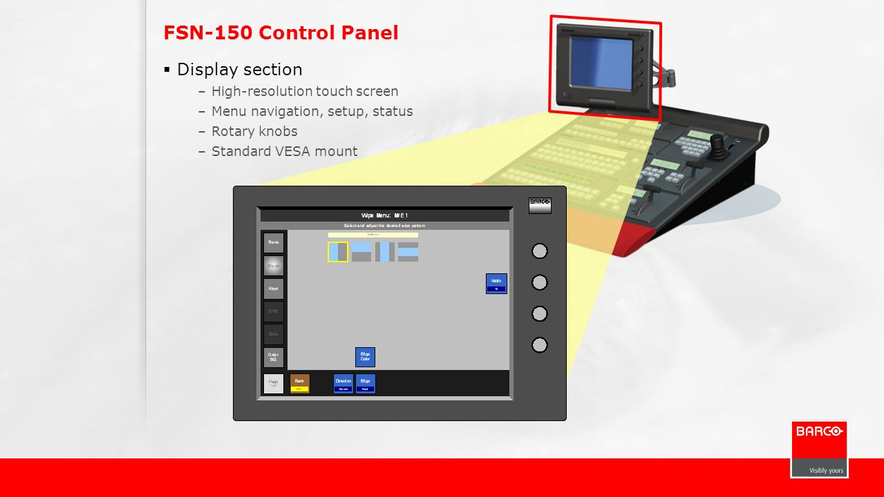 FSN-150 Control Panel Display section High-resolution touch screen