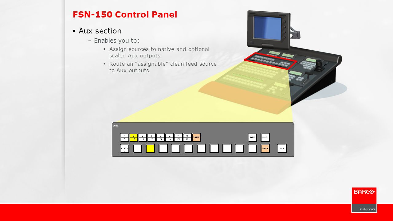 FSN-150 Control Panel Aux section Enables you to: