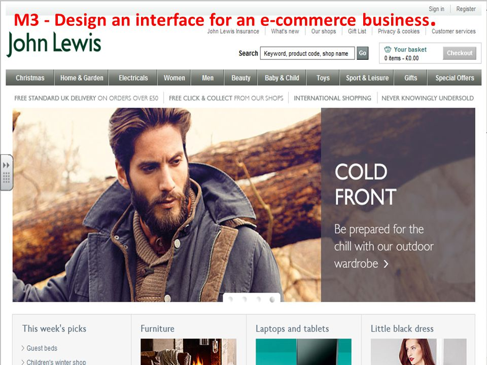 M3 - Design an interface for an e-commerce business.