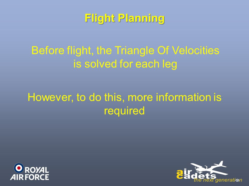 Before flight, the Triangle Of Velocities is solved for each leg