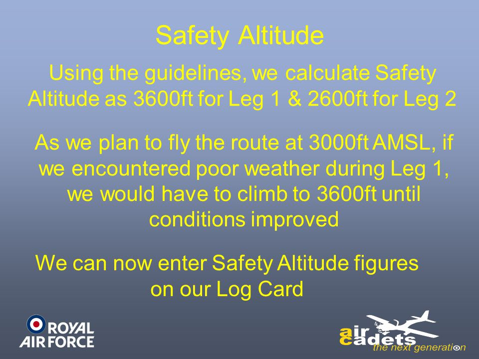 We can now enter Safety Altitude figures on our Log Card