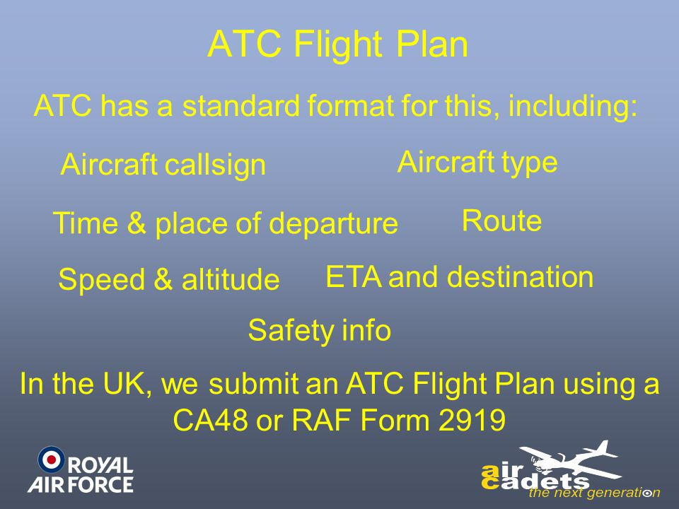 ATC Flight Plan ATC has a standard format for this, including: