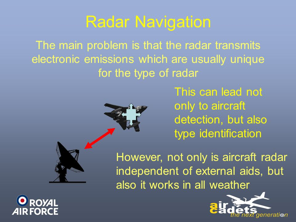 Radar Navigation The main problem is that the radar transmits electronic emissions which are usually unique for the type of radar.