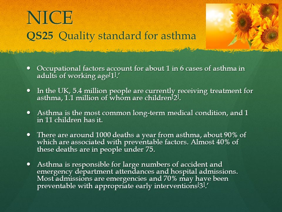 NICE QS25 Quality standard for asthma