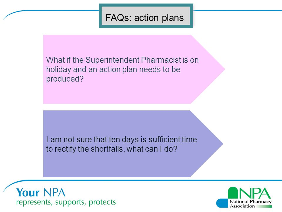 FAQs: action plans What if the Superintendent Pharmacist is on holiday and an action plan needs to be produced