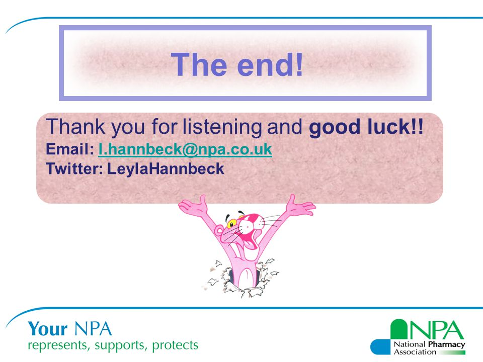 The end! Thank you for listening and good luck!!