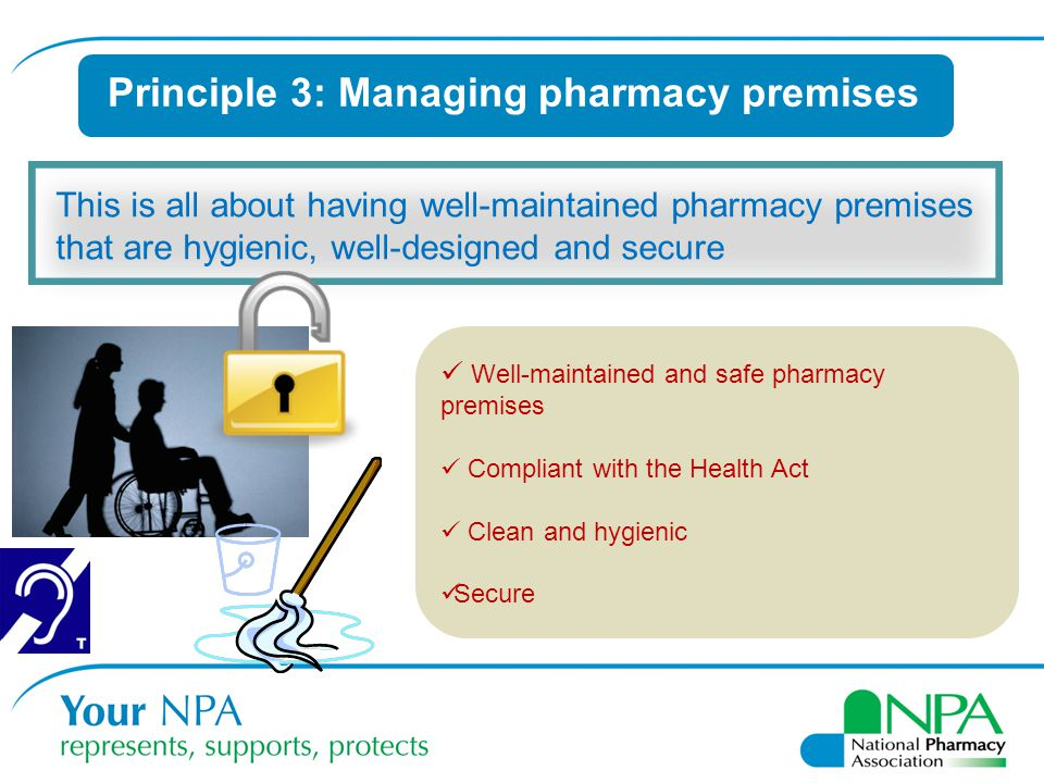 Principle 3: Managing pharmacy premises