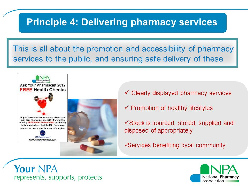 Principle 4: Delivering pharmacy services