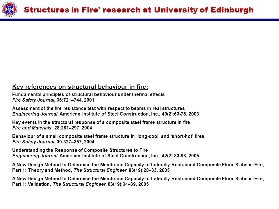 Structures in Fire' research at University of Edinburgh