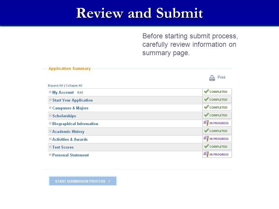 Review and Submit Before starting submit process, carefully review information on summary page. Review Summary.