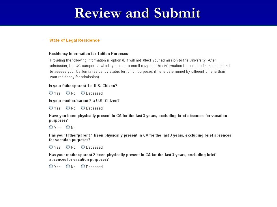 Review and Submit Residency Information for Tuition Purposes