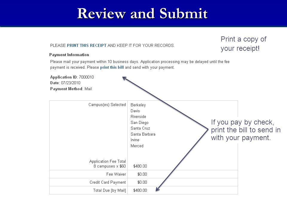 Review and Submit Print a copy of your receipt!