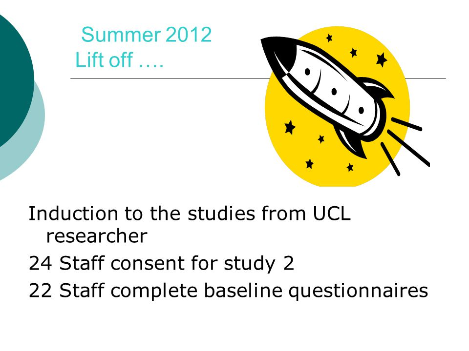 Summer 2012 Lift off …. Induction to the studies from UCL researcher