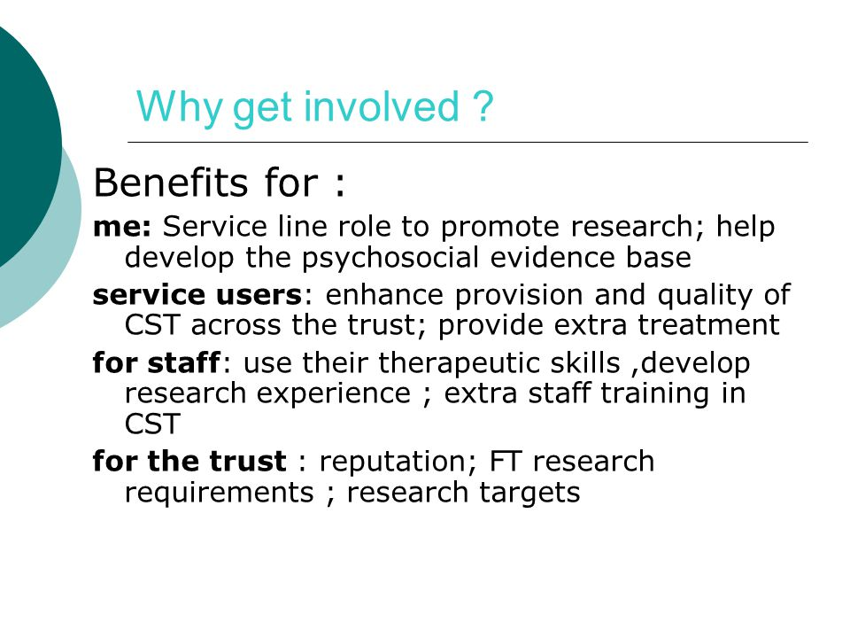 Why get involved Benefits for :