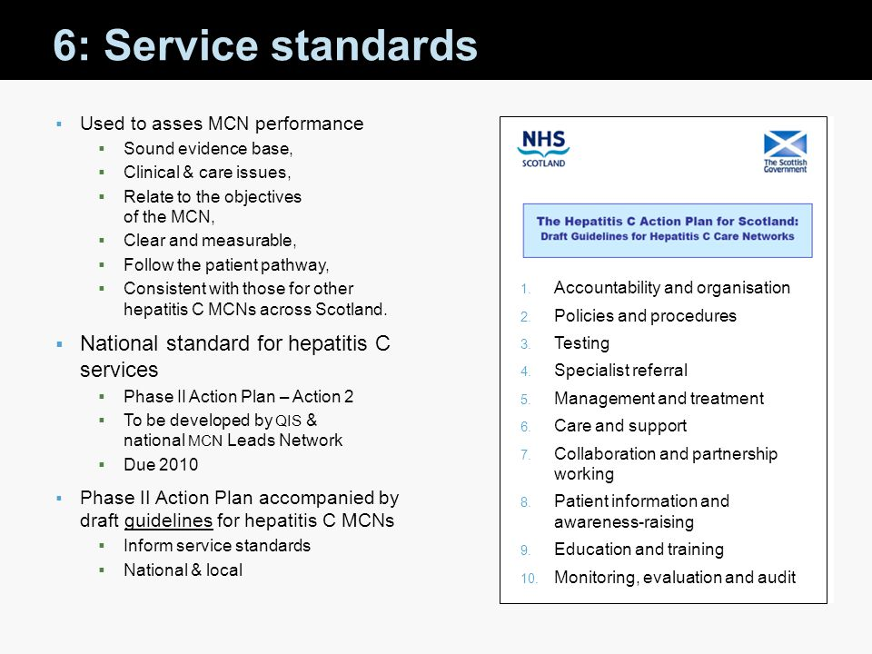 6: Service standards National standard for hepatitis C services