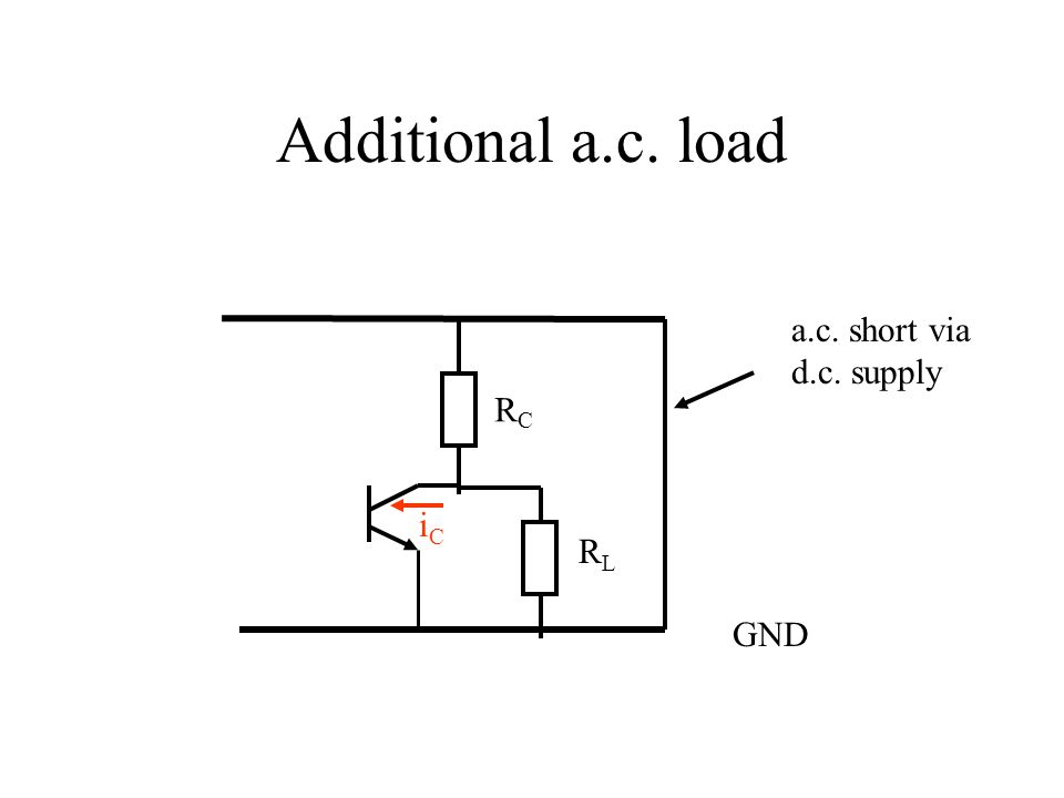 Additional a.c. load a.c. short via d.c. supply RC iC RL GND