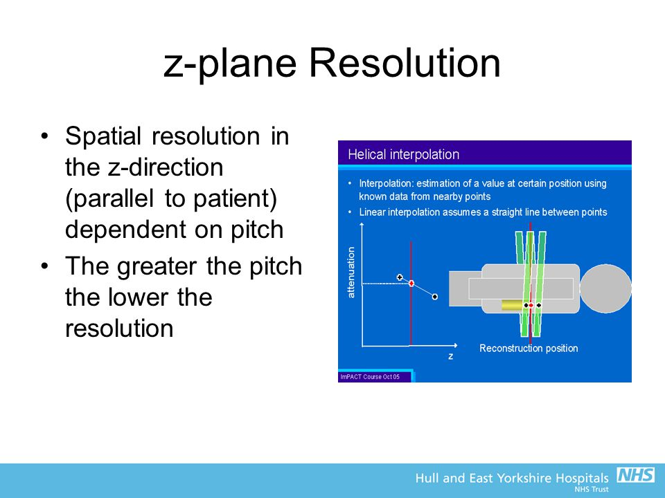 z-plane Resolution Spatial resolution in the z-direction (parallel to patient) dependent on pitch.