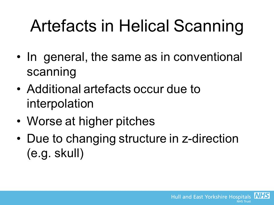 Artefacts in Helical Scanning
