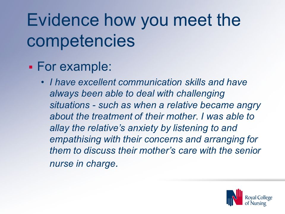 Evidence how you meet the competencies