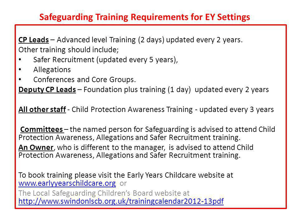 Safeguarding Training Requirements for EY Settings