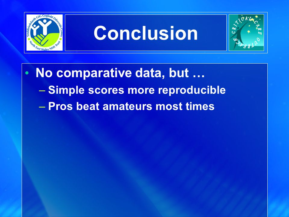Conclusion No comparative data, but … Simple scores more reproducible