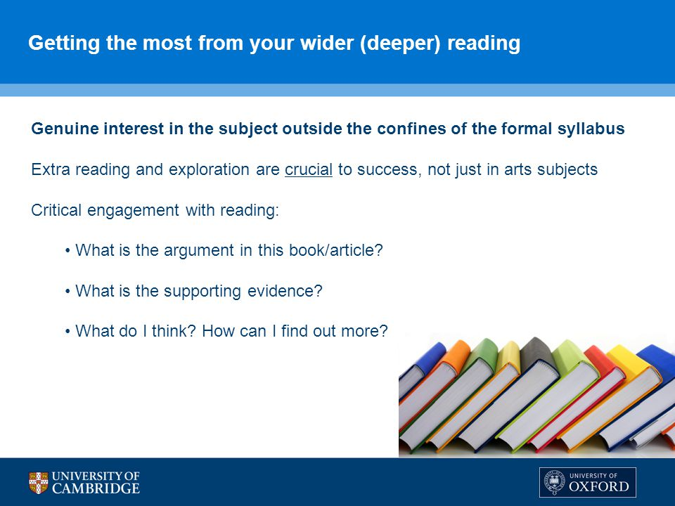Getting the most from your wider (deeper) reading
