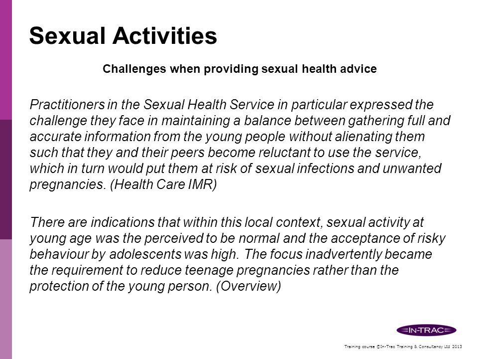 Challenges when providing sexual health advice