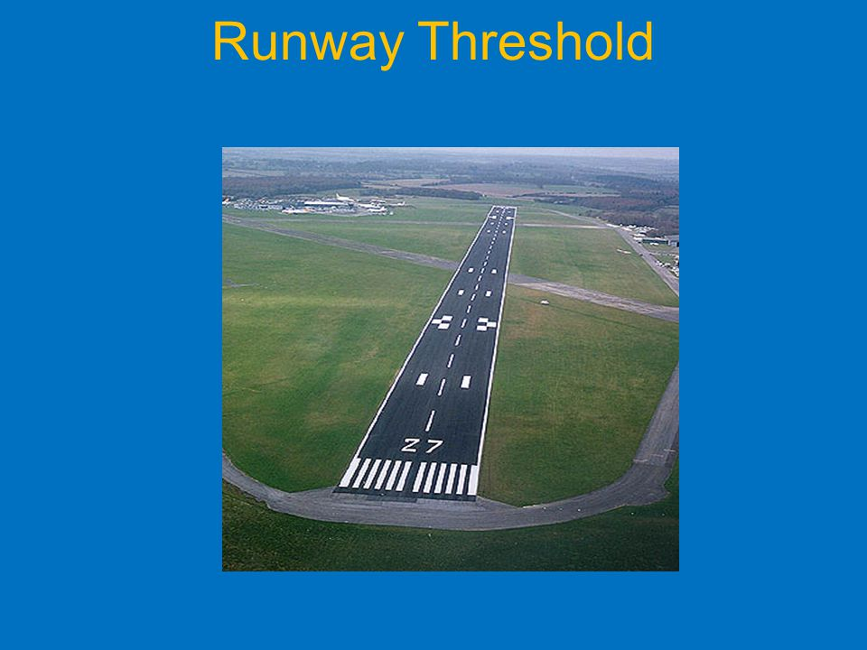 Runway Threshold Markings on approach to runway.
