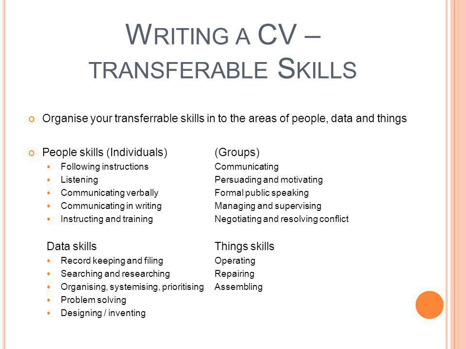 Writing a CV – transferable Skills
