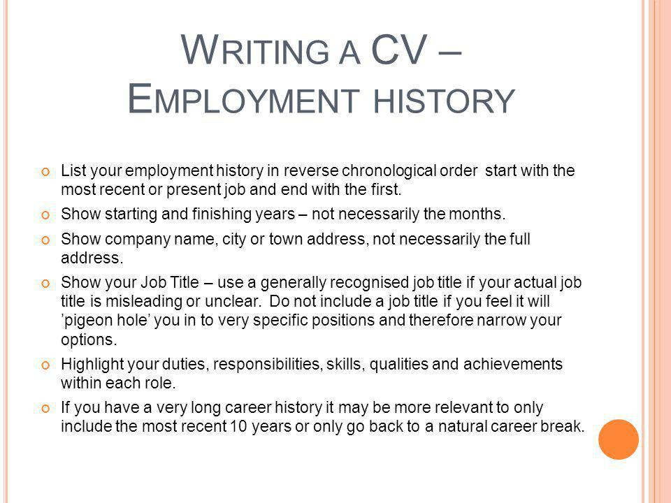 Writing a CV – Employment history