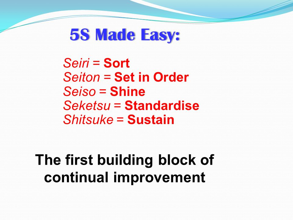 The first building block of continual improvement