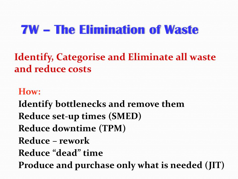 7W – The Elimination of Waste