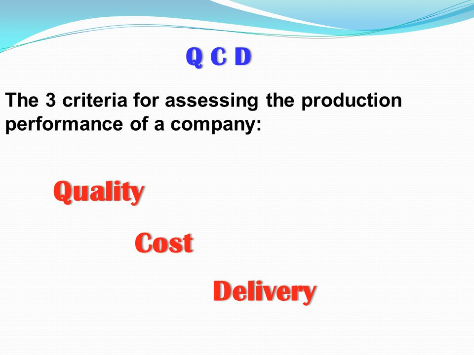 Quality Cost Delivery Q C D