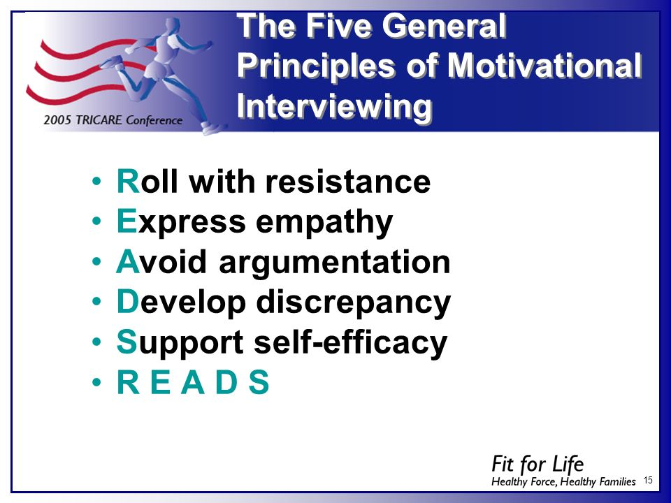 The Five General Principles of Motivational Interviewing
