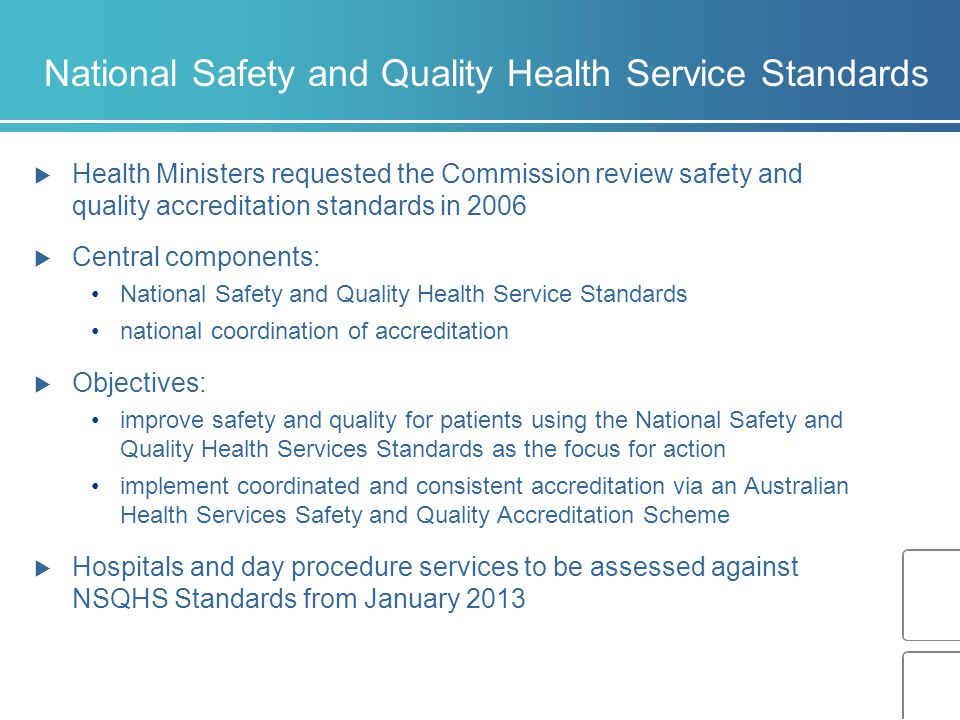 National Safety and Quality Health Service Standards