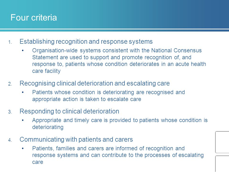Four criteria Establishing recognition and response systems