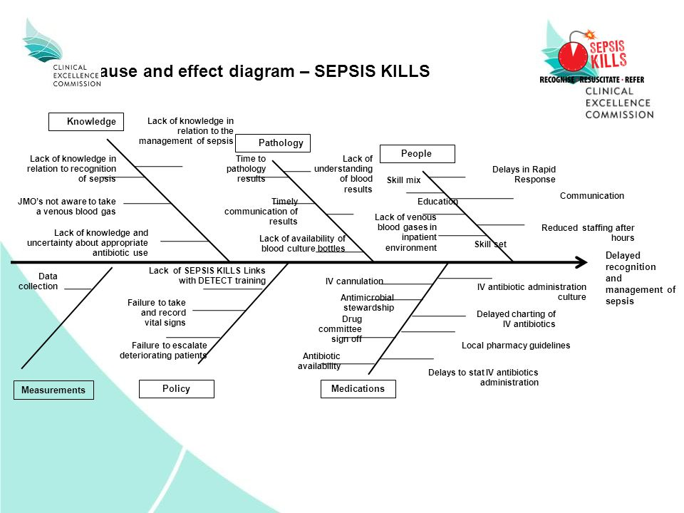 Cause and effect diagram – SEPSIS KILLS