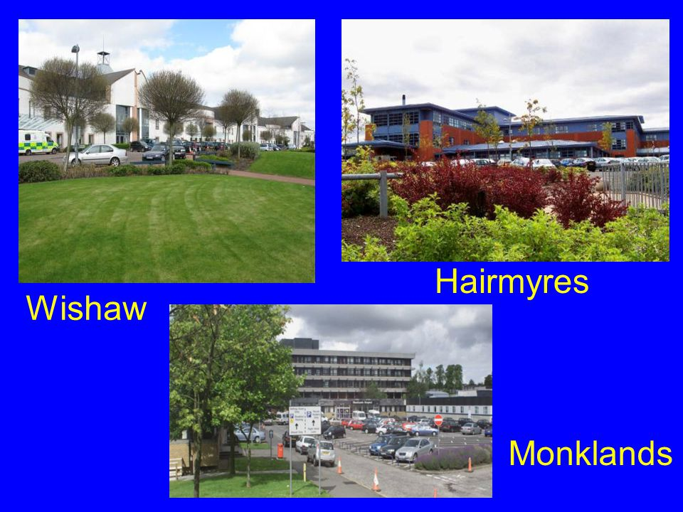 Hairmyres Wishaw Monklands 3 DGH acute hospitals 550 000 population