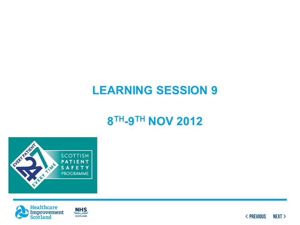 Learning session 9 8th-9th Nov 2012