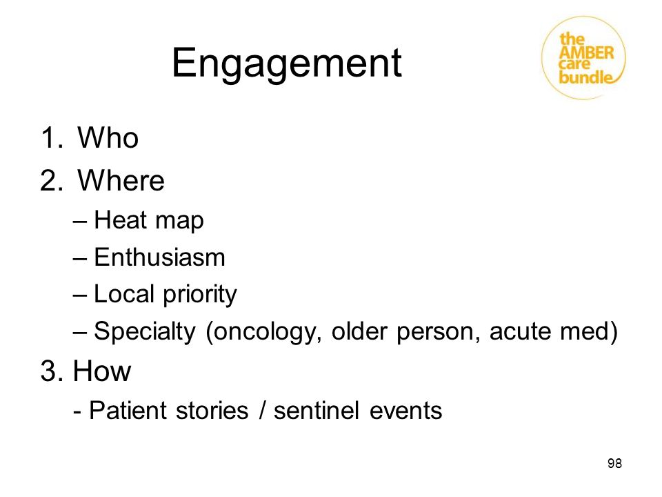 Engagement Who Where 3. How Heat map Enthusiasm Local priority