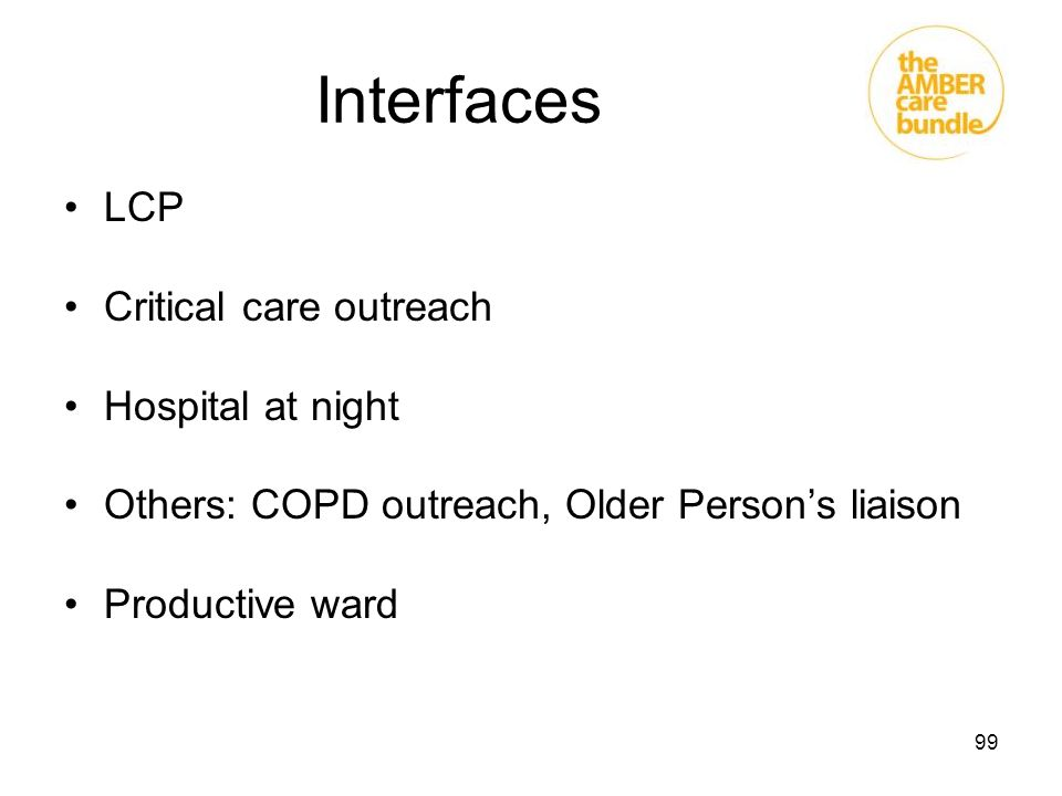 Interfaces LCP Critical care outreach Hospital at night