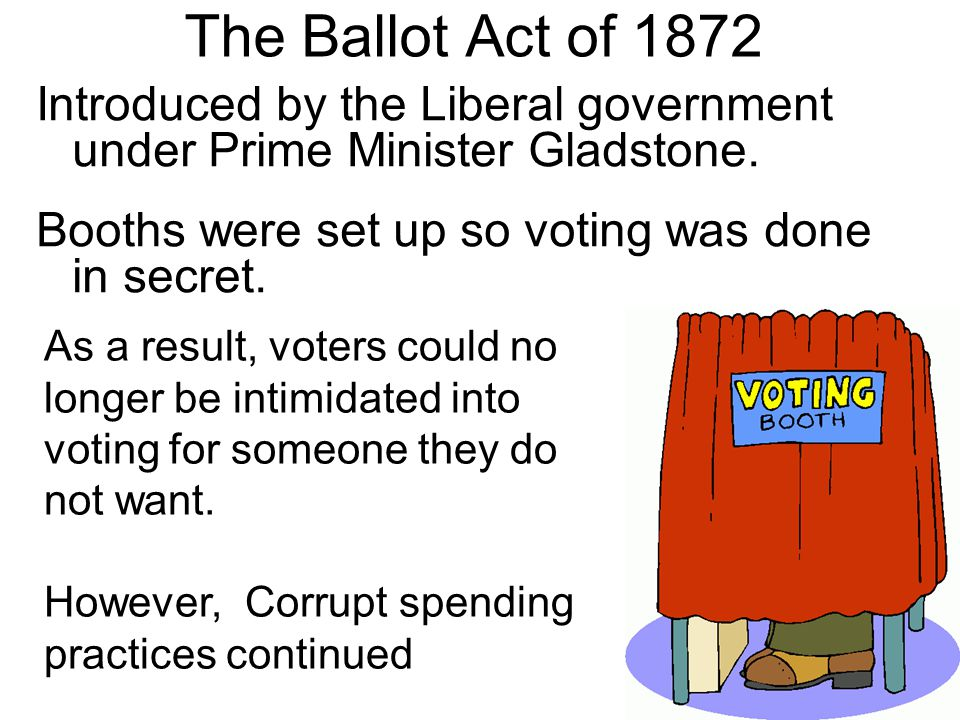 The Ballot Act of 1872 Introduced by the Liberal government under Prime Minister Gladstone. Booths were set up so voting was done in secret.